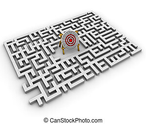 labyrinth - target - path over a labyrinth hits the target