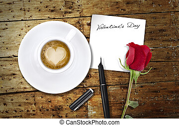 Coffee on Valentines day, wooden table/vintage valentin day...