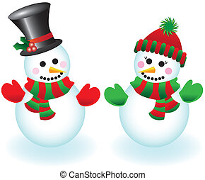 Happy Snowpeople - Illustration of a happy snowman and...