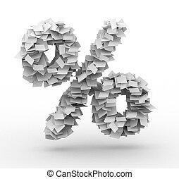 Percent sign , stacked from paper sheets - Alphabet maked...