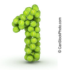 Number 1, tennis balls alphabet - Number 1, alphabet of...
