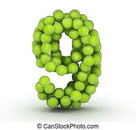 Number 9, tennis balls alphabet - Number 9, alphabet of...