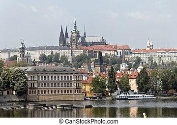 prague, charles bridge, prague castle and hradcany - prague,...