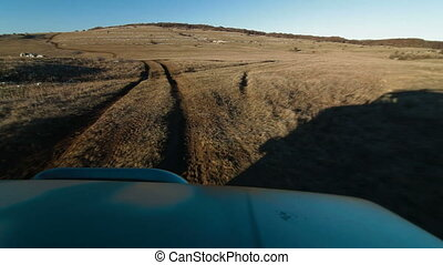Hunting Trip - Driving of Camouflaged Vehicle Through...