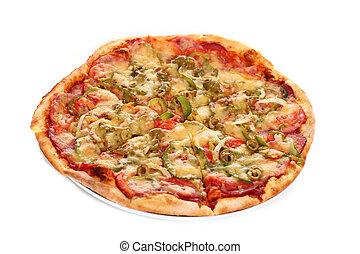 Image of fresh italian pizza isolated over white background