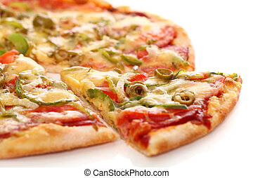 Image of fresh italian pizza isolated over white background