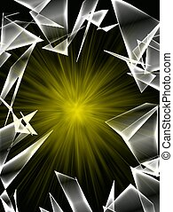 Broken glass with yellow burst