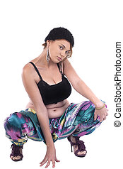 Girl with colorful pants and big breasts