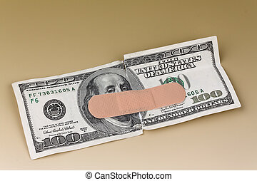 u.s. dollar bills with a band aid - many dollar bills with a...