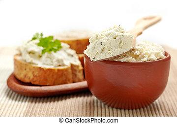 queso,  bread, crema