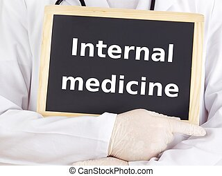 Doctor shows information: internal medicine