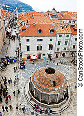 croatia, dubrovnik, stradun, onofrio's fountain - the city...