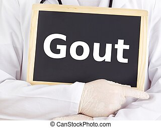 Doctor shows information on blackboard: gout