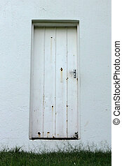 Neglected Old Rusted White Zinc Door - Picture of Neglected...