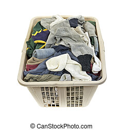 Laundered clothes in plastic hamper - A load of mens...