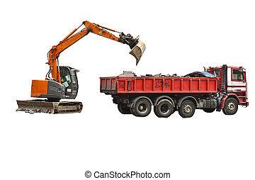 excavator and truck isolated - Excavator and truck isolated...