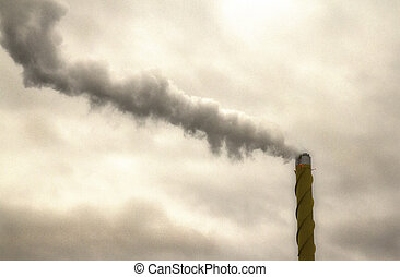 Polluting chimney - Factory polluting the atmosphere