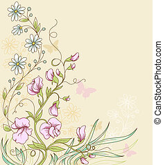 Sweet pea - Vector floral background with sweet pea and...