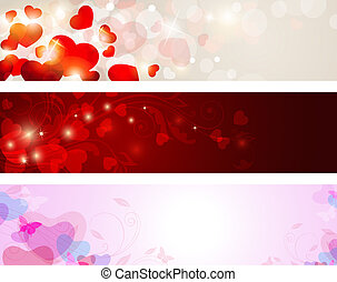 Valentine banners - Vector backgrounds with hearts for...