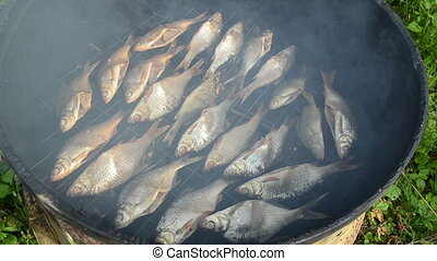 fish smoke smokehouse - closeup ecologic natural organic...