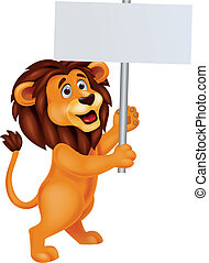 Lion with blank sign - Vector illustration of lion cartoon...