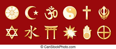 World Religions, Red Background - World Religions, gold...