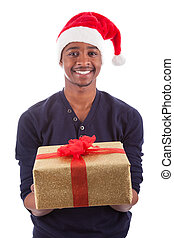 Young African American man offering a gift