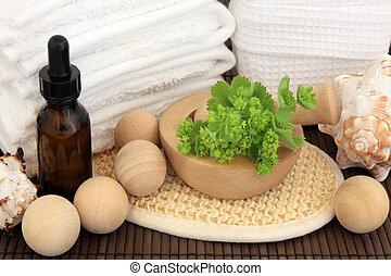 Ladies Mantle Spa Treatment - Ladies mantle herb leaf sprigs...