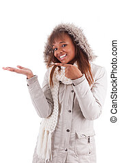 Young african american woman holding something