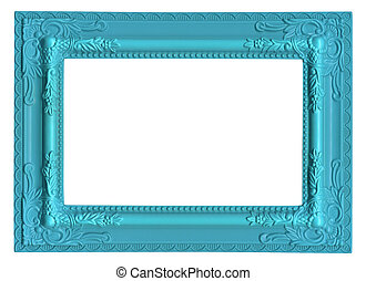 blue picture frame isolated on white background