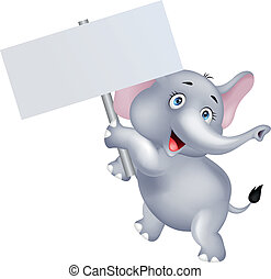 Elephant with blank sign - Vector illustration of elephant...