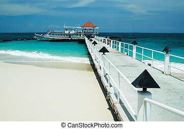 Bridge pier in the Andaman Sea and sky