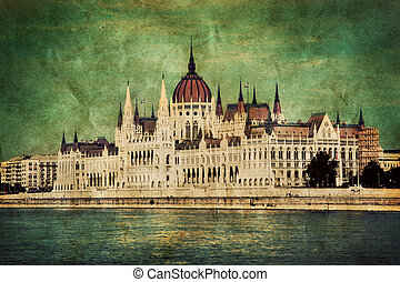 Hungarian parliament in Budapest, Hungary. Retro - Retro...