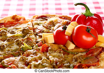 Image of fresh italian pizza on a tablecloth - Image of...