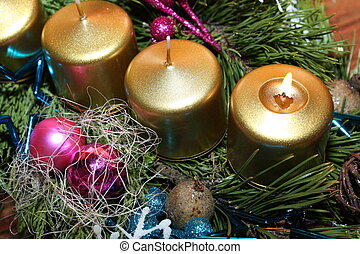 Christmas candle - Christmas advent candle with green twig