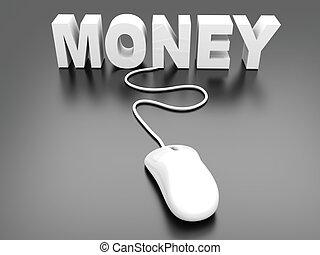 Money online. 3D rendered Illustration.