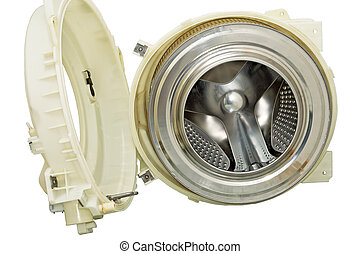 Steel drum of a washing machine. - Stainless steel drum of a...
