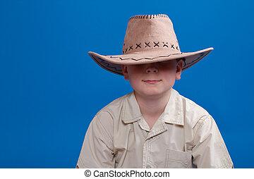 retrato, niño, sombrero, vaquero