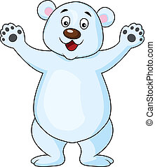 Funny Polar bear cartoon - Vector illustration of polar bear...