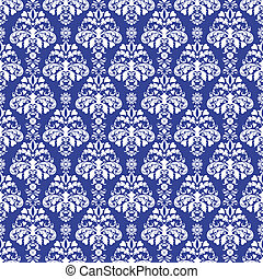 Seamless Blue Damask - Seamless damask pattern in white on...