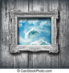 Black and white background with blue sky
