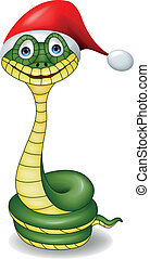 Funny snake with red hat - Vector illustration of funny...