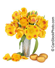 Easter Flowers - Yellow and red tulip flower arrangement in...