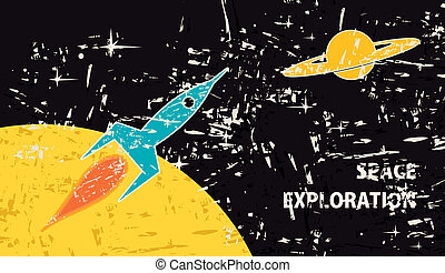 space exploration - Space landscape with a missile, the moon...