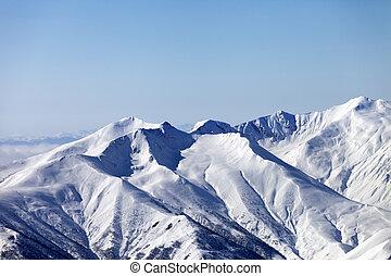 Snowy mountains. Caucasus Mountains, Georgia, ski resort...