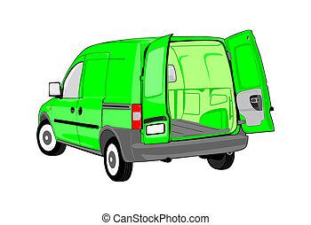 Van with open back door. Without gradients. Easy to change...