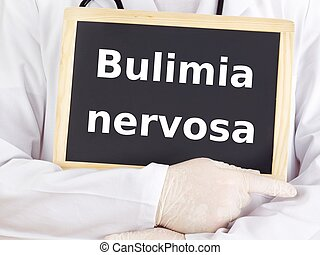 Doctor shows information: bulimia nervosa
