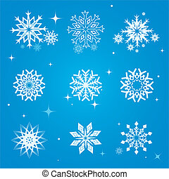 Snowflakes vector set - set of snowflakes over blue...