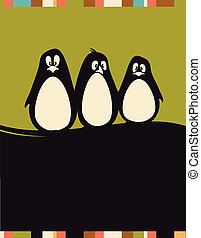 Penguins - ard with three penguins and a place for your text