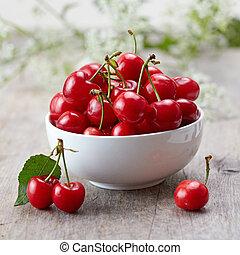 frais, cerises, rouges